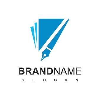Buch- und stift-logo-design-vorlage