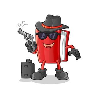 Buch zeichentrickfigur mafia mit pistole