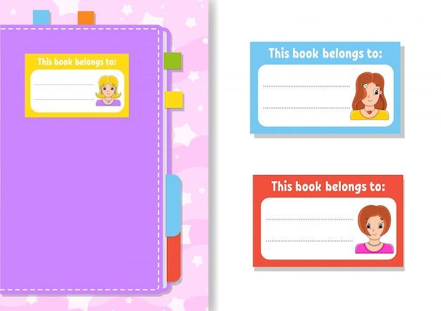 Buchaufkleber für kinder. schöne mädchen. die rechteckige form.
