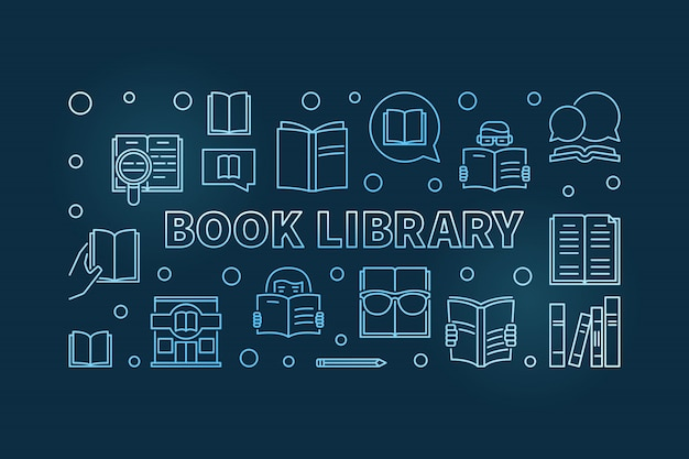 Buchbibliothek blauen umriss banner