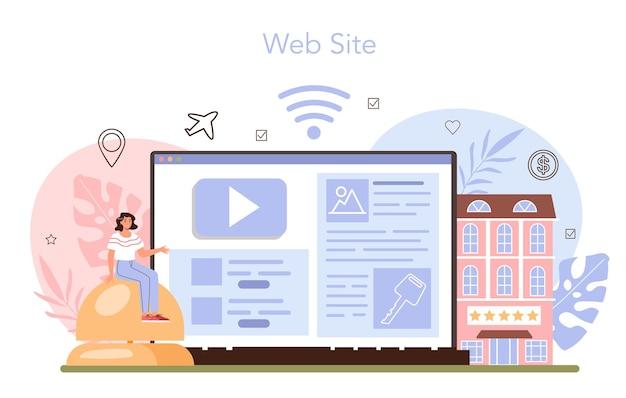 Buchen sie einen hotel-online-service oder eine online-plattform. wohnung buchen Premium Vektoren