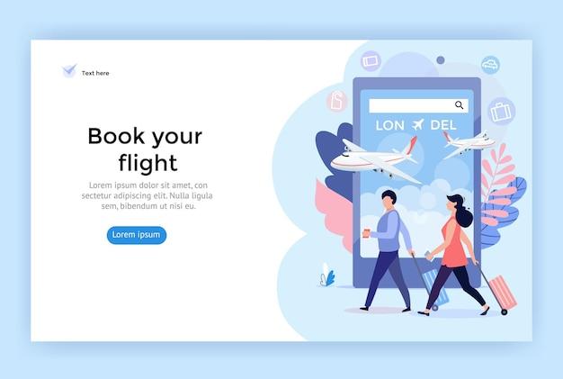 Buchen sie online ihre flugkonzeptillustration, die sich perfekt für die mobile webdesign-banner-app eignet