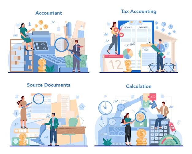 Buchhalter büro manager set illustration