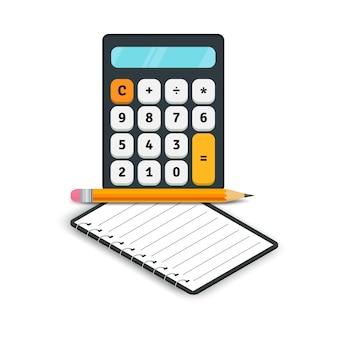 Buchhaltung flache symbole. taschenrechner mit dem notizbuch und bleistift lokalisiert auf weißem hintergrund. vektor-illustration