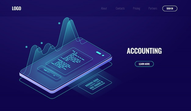 Buchhaltung, geldprüfung, finanzmanagementkonzept, handy mit grafischen daten