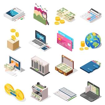 Buchhaltung isometrische icons set