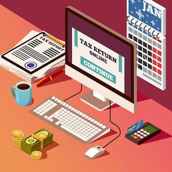 Buchhaltung und steuern isometrische zusammensetzung