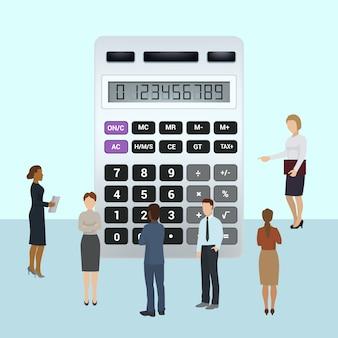 Buchhaltungs- und finanzanalytik-vektorillustration. männer und frauen analysieren die finanzielle situation des unternehmens anhand von berechnungen. wirtschaftsprüfer-leutegruppe, die nahe großem taschenrechner steht