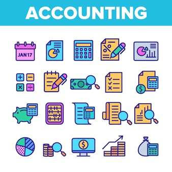 Buchhaltungselemente icons set