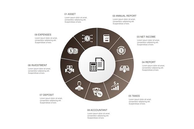 Buchhaltungsinfografik 10 schritte kreisdesign. vermögenswert, jahresbericht, nettoeinkommen, einfache symbole des buchhalters
