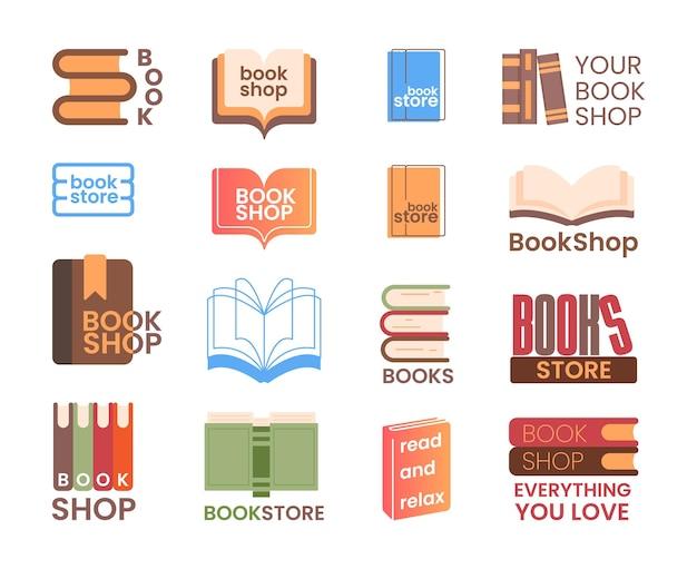 Buchhandlung und buchhandlung-logosatz. bildung, bibliothek oder verlagslogo, online-buchhandlung oder anwendungssymbol mit papierbuchstapel-vektorillustration einzeln auf weißem hintergrund