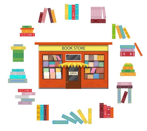 Buchhandlung. vintage-shop mit einem folio. icons die stapel bücher in einem kreis. flacher stil. isoliert auf weißem hintergrund. vektor-illustration.