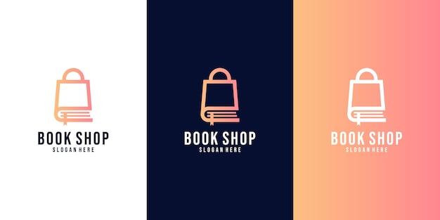 Buchhandlungslogo. farbige isolierte luxuslogoschablone des einkaufszentrums in einkaufsform.
