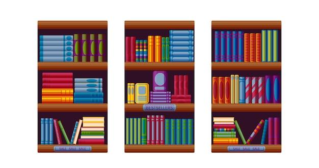 Buchhandlungsregale mit bestsellern und verkaufsoptionen set für buchhandlungsregale im cartoon-stil