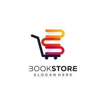 Buchladen-logo-designschablone mit modernem konzept premium-vektor