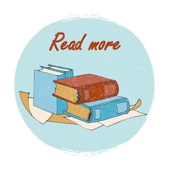 Buchladen- oder bibliotheksemblem - lesen sie mehr fahne