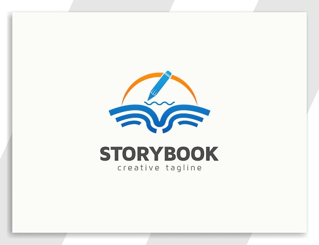 Buchlogodesign mit bleistiftillustration