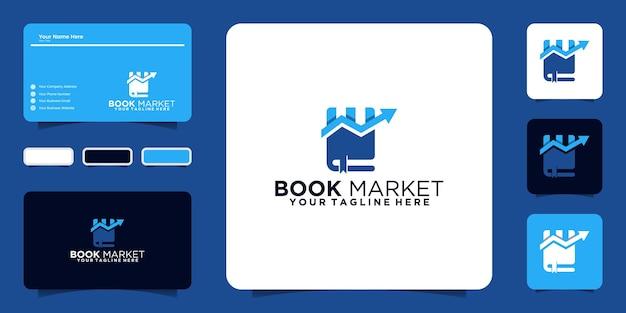 Buchmarkt-inspirierendes design-logo und visitenkarte