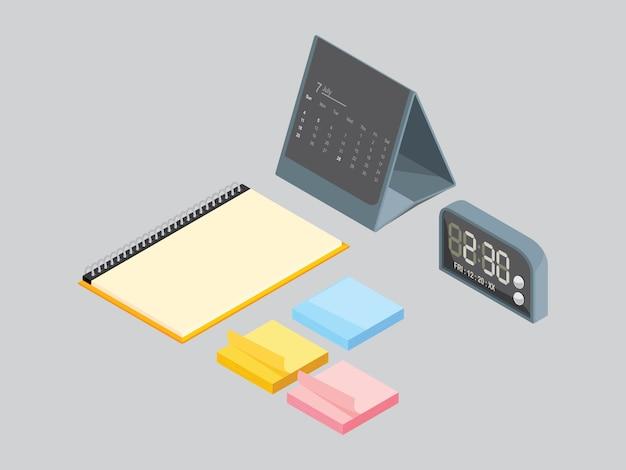 Buchnotiz und kalender auf grau