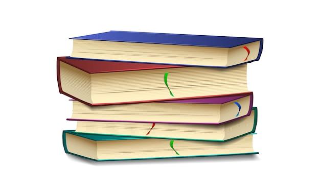 Buchsatz mit lesezeichen und schatten auf lokalisiertem hintergrund, buchschablone, illustration