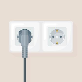 Buchse mit stecker. elektrizität. heimelektrik verbinden und trennen