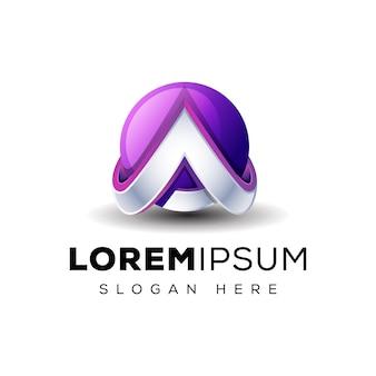 Buchstabe a 3d mit globus-logo