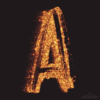 Buchstabe a bright golden shimmer scatter particles flame glowing font