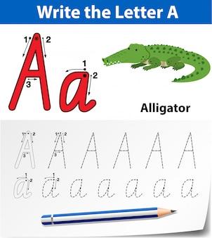 Buchstabe a, der arbeitsblätter für alphabet verfolgt