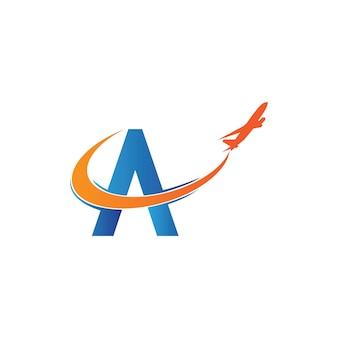 Buchstabe a flugreisen-logo-design-vorlage-vektor