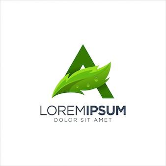 Buchstabe a leaf logo