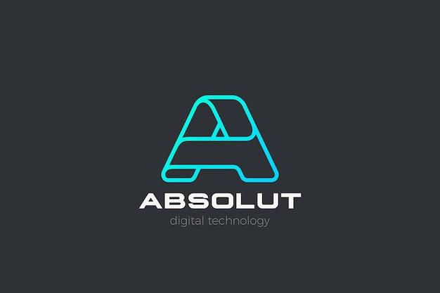 Buchstabe a logo. entwerfen sie corporate business-technologie im linearen umrissstil.