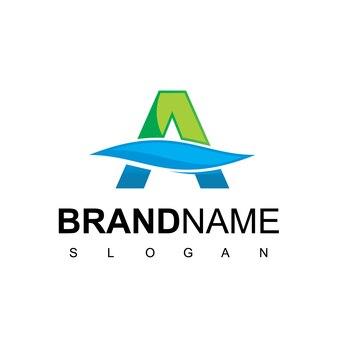 Buchstabe a logo für sauberes wasser