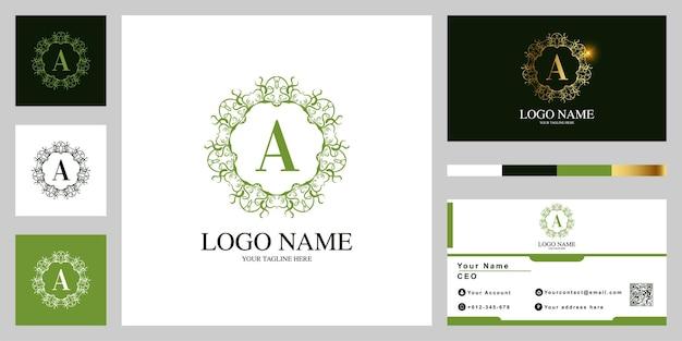 Buchstabe a luxus ornament blume oder mandala frame logo template design mit visitenkarte.