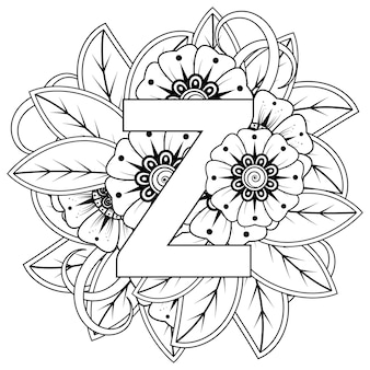 Buchstabe a mit dekorativem ornament der mehndi-blume im ethnischen orientalischen stil malbuchseite
