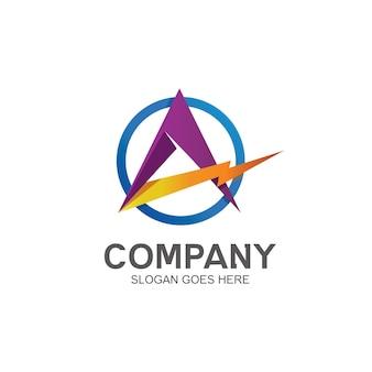 Buchstabe a mit donner-logo-design