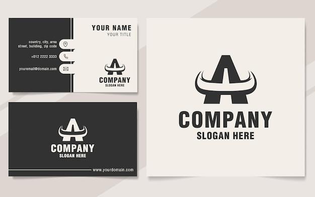 Buchstabe a mit horn-logo-vorlage im monogramm-stil