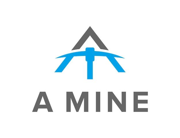 Buchstabe a mit minenausrüstung einfaches schlankes kreatives geometrisches modernes logo-design