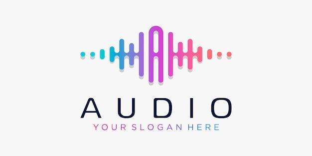 Buchstabe a mit puls. musik-player-element. logo-vorlage elektronische musik, equalizer, laden, dj-musik, nachtclub, disco. audio-wellen-logo-konzept, thematische multimedia-technologie, abstrakte form.