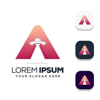 Buchstabe a mit ufo-logo-design