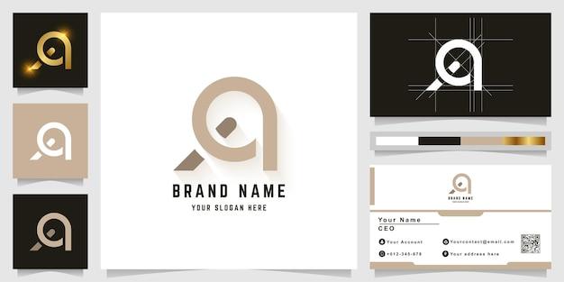 Buchstabe a oder aa monogramm-logo mit visitenkarten-design