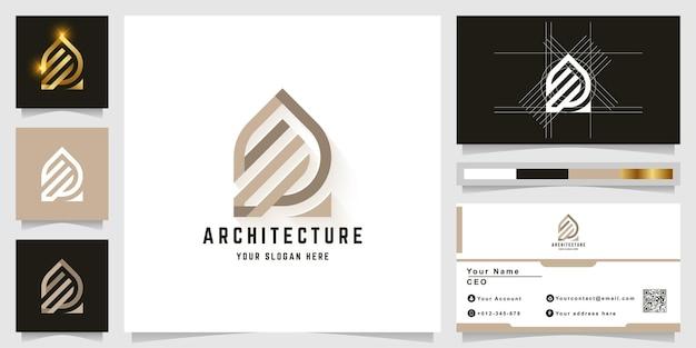 Buchstabe a oder gebäude-monogramm-logo mit visitenkarten-design