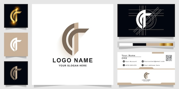Buchstabe a oder q monogramm-logo-vorlage mit visitenkarten-design
