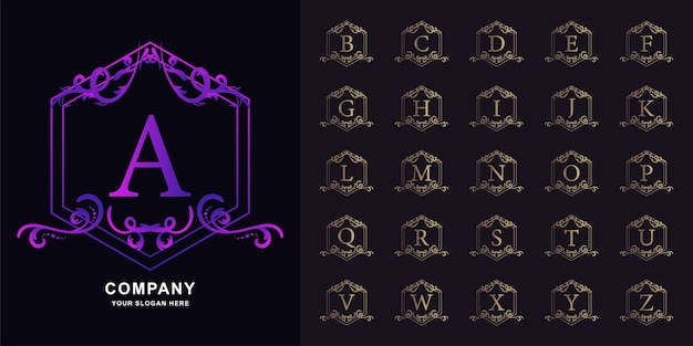 Buchstabe a oder sammlungsanfangsalphabet mit goldener logoschablone des blumenrahmens der luxusverzierung.