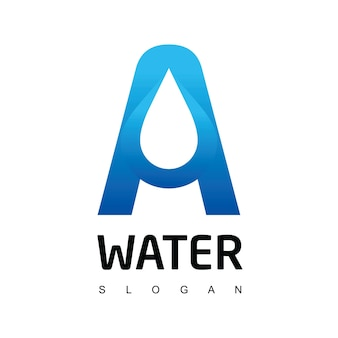Buchstabe a tropfen wasser logo vorlage