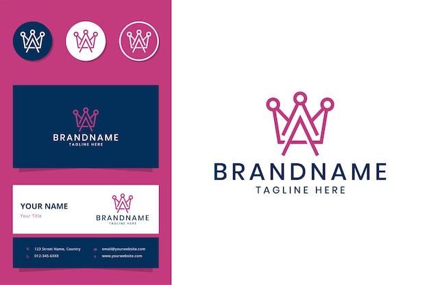 Buchstabe a und kronenlinie art logo design