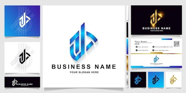 Buchstabe ab oder a-monogramm-logo-vorlage mit visitenkartendesign