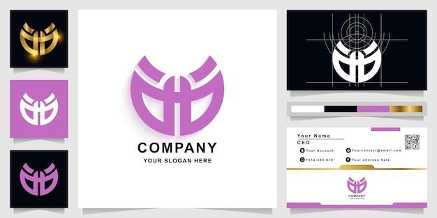 Buchstabe ag oder wie augen-monogramm-logo-vorlage mit visitenkartendesign
