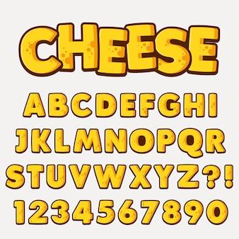 Buchstabe-alphabet mit zahlen-käse-art