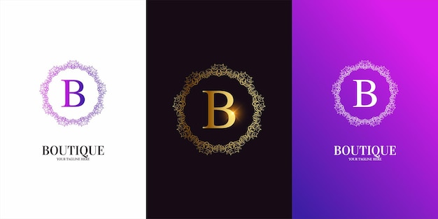 Buchstabe b anfangsalphabet mit luxusverzierungsblumenrahmen-logoschablone.