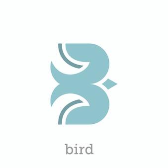 Buchstabe b logo design als vogelfigur
